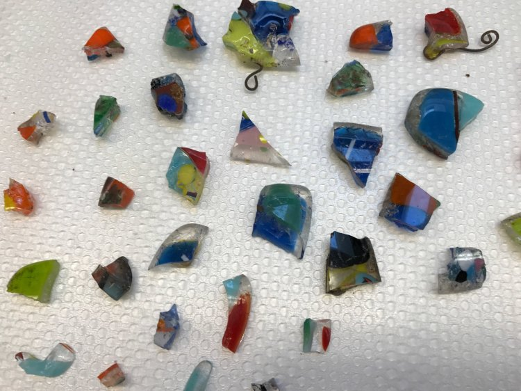 Found glass shards after the fire.